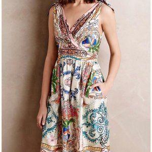 Anthropologie Collette Dinnigan Silk Print Dress
